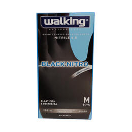 Guanti Black Nitro Walking senza polvere in Nitrile Media 100 pz.