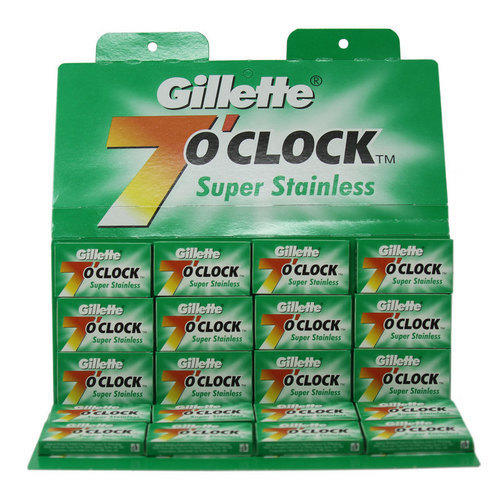 Lamette da barba Gillette 7 O'clock Super Stain Verde stecca 100 lame
