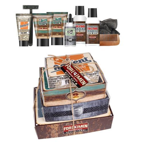 Set Bath For Men 4 scatole contenenti prodotti per viso corpo capelli ba