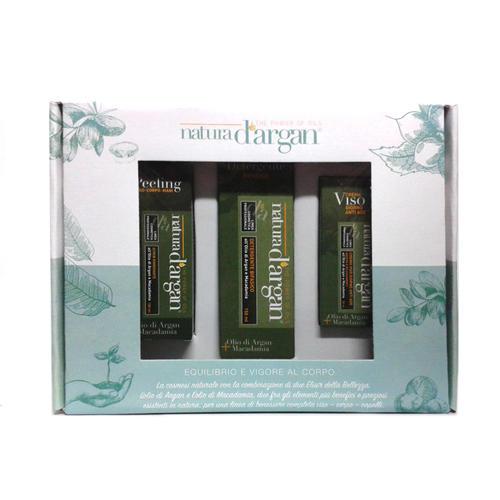 Cofanetto Regalo Natura D'Argan Crema Viso+detergente bifasico+Peeling