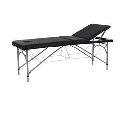 Lettino da Massaggio Pieghevole Nero Struttura Alluminio F021