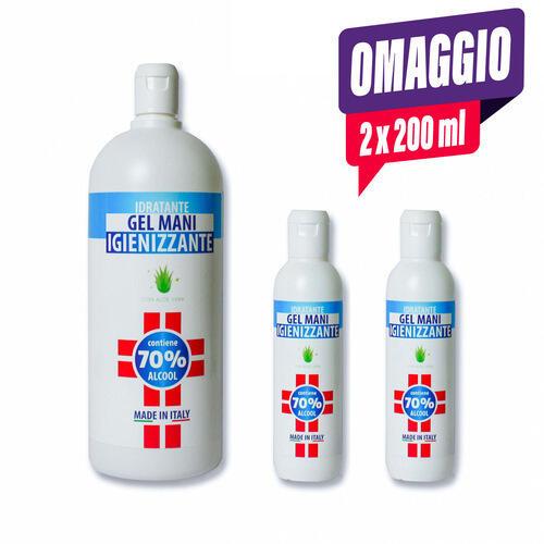 Gel Igienizzante Mani Idratante soloestetica 1000 ml.+ 2 omag da 200 ml