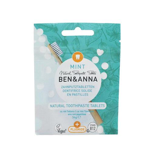 Dentifricio in Pastiglie Menta con Fluoro Ben e Anna 36 g
