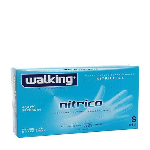 Guanti Nitrico in nitrile senza polvere Walking misura Small 100 pz