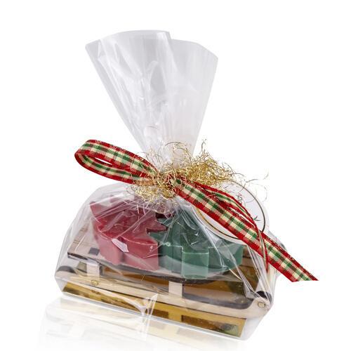 Confezione Regalo Slitta Legno con 2 Saponette da 25 gr Hello Winter