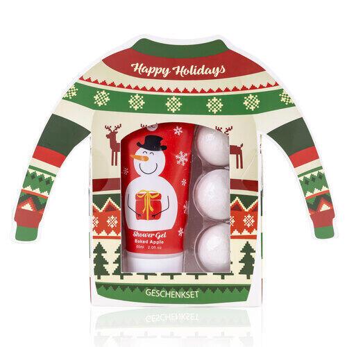 Set Bagno Happy Holidays Confez. Regalo Shower Gel 60 ml 3 Bath Fizzer