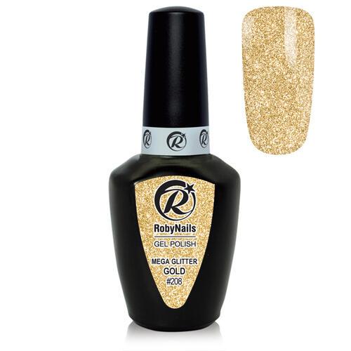 Gel Polish 208 Mega Glitter Gold Roby Nails 8 ml