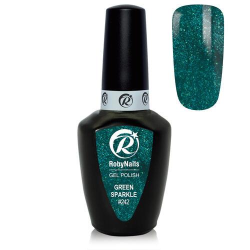 Gel Polish 242 Green Sparkle Roby Nails 8 ml