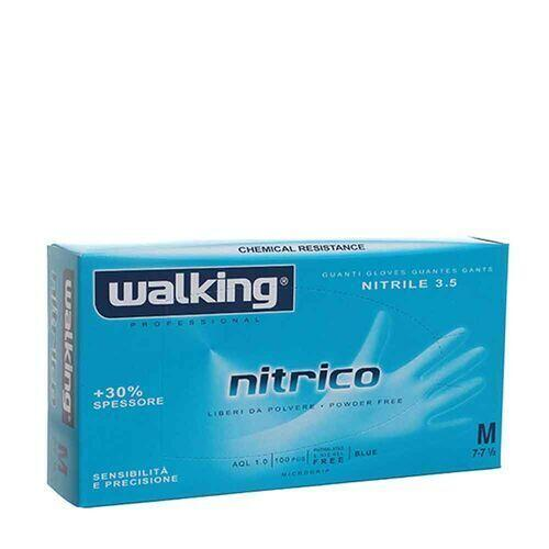 Guanti Nitrico in nitrile senza polvere Walking misura Medium 100 pz