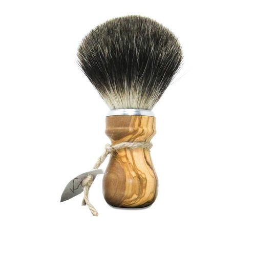 Pennello da Barba Manico Olivo Puro Tasso SHD Kigi Barbaebaffi