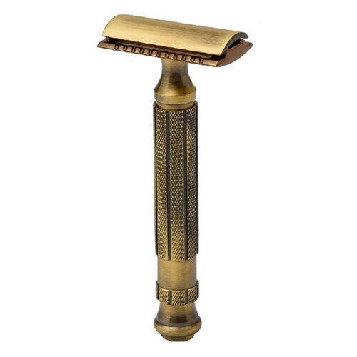 Rasoio Double Edge Antique Brass Closed Comb L55CC Pearl